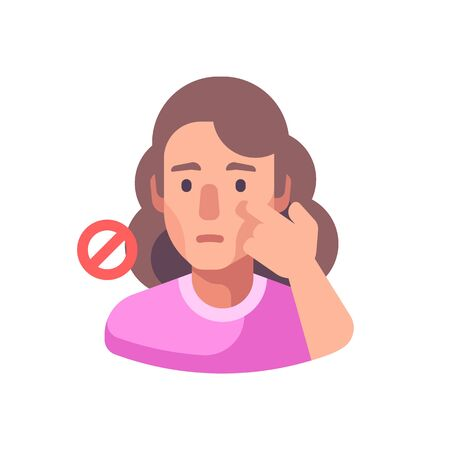 Don't touch your face to prevent infection. Virus prevention flat illustration. Hygiene icon