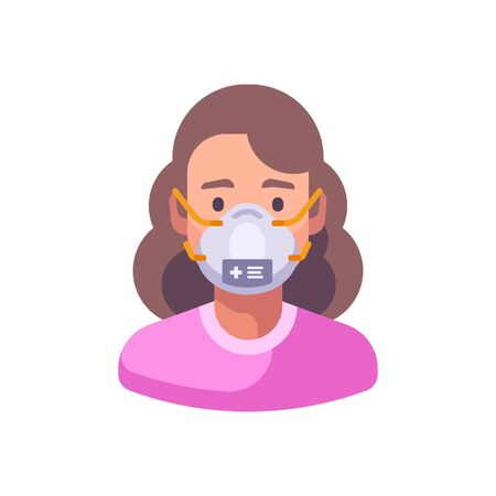 Woman in N95 face mask. Virus protection flat illustration Vettoriali