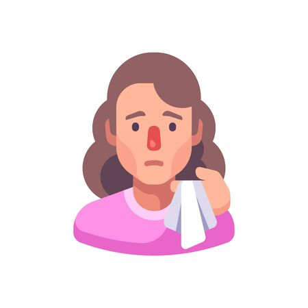Running nose flat illustration. Woman with handkerchief