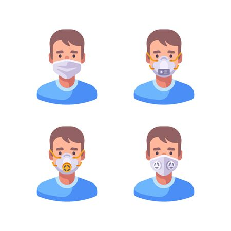 Man in different types of face masks. Medical character set flat illustration. Virus prevention icons.