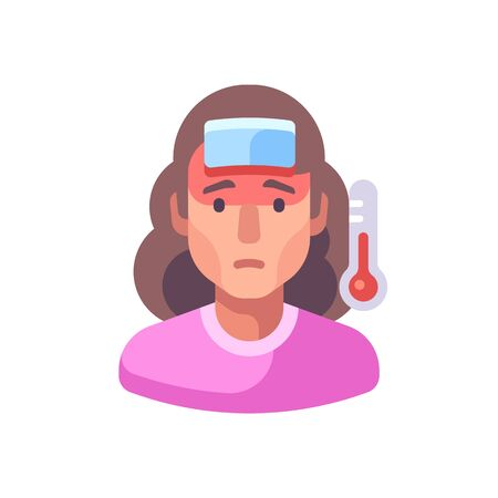 Fever flat illustration. Sick woman with a cold Vettoriali