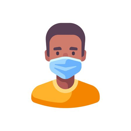 African American man in medical surgical mask. Virus protection flat illustration