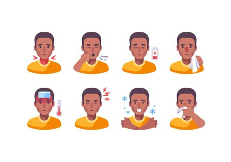 African American man with different flu symptoms. Medical character collection. Coronavirus symptoms icon set.