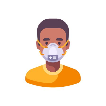 African American man in N95 face mask. Virus protection flat illustration Vettoriali