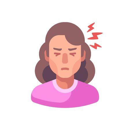Headache flat illustration. Tired woman feeling sick