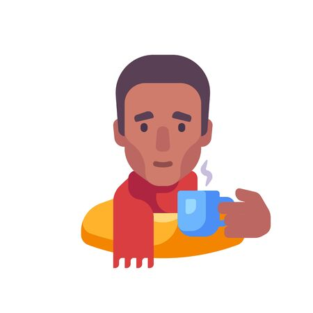 African American guy in scarf drinking tea flat illustration