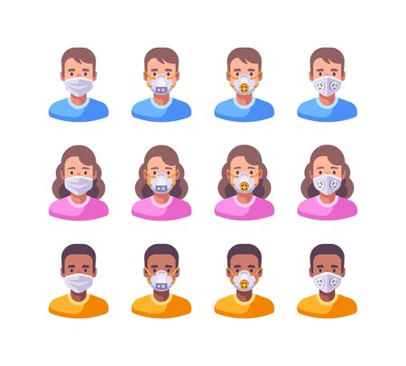 Set of characters in different types of face masks. Medical protection flat illustration. Virus prevention icons Vettoriali