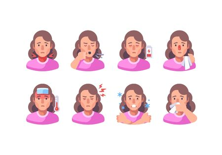 Woman with different flu symptoms. Medical character collection. Coronavirus symptoms icon set.