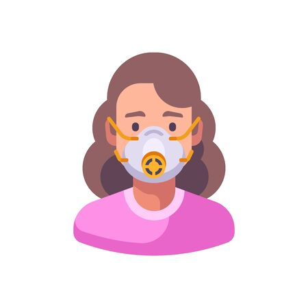 Woman in N95 face mask with a gauge. Virus protection flat illustration
