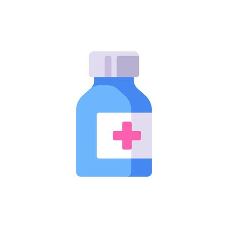 Glass medicine bottle with label vector illustration. Healthcare flat icon.