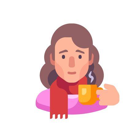Girl in scarf drinking tea flat illustration Ilustrace