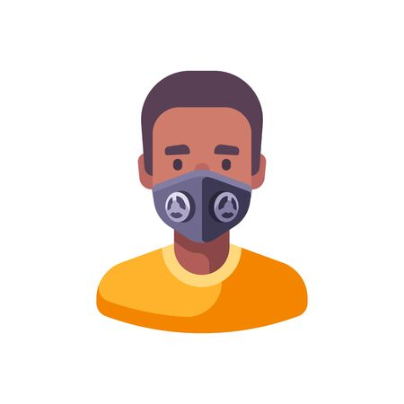 African American man in black N99 face mask. Virus protection flat illustration