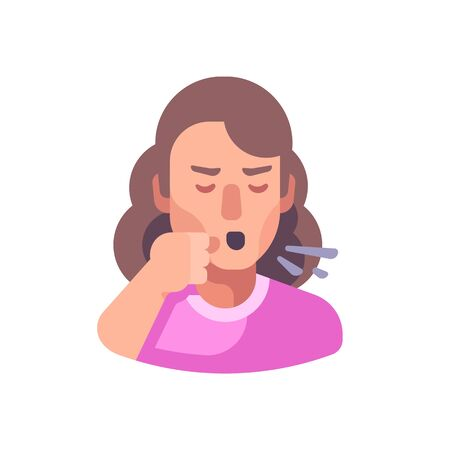 Cough flat illustration. Sick woman coughing into his fist