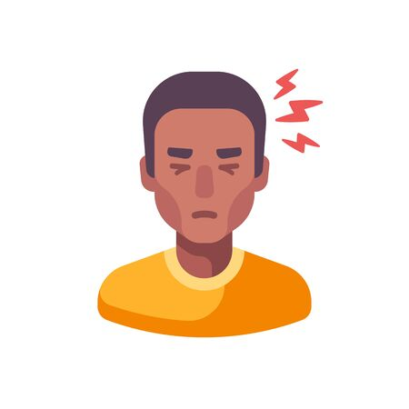 Headache flat illustration. Tired African American man feeling sick