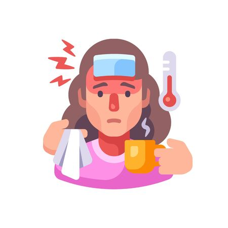 Sick woman drinking tea flat illustration. Guy having flu symptoms. Infectious disease concept Vettoriali