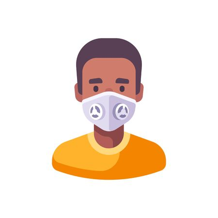 African American man in white N99 face mask. Virus protection flat illustration