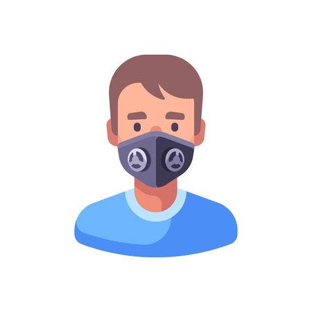 Man in black N99 face mask. Virus protection flat illustration.