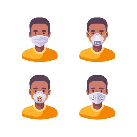 African American man in different types of face masks. Medical character set flat illustration. Virus prevention icons. 向量圖像