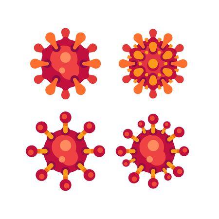 Sed of red virus flat icons. SARS-CoV-2 novel coronavirus vector illustration.