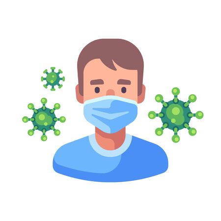Man in medical surgical mask. Virus protection flat illustration. Green coronavirus floating in the air. Vettoriali