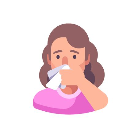 Woman covering his nose and mouth when sneezing. Infection prevention flat illustration