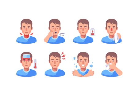 Man with different flu symptoms. Medical character collection. Coronavirus symptoms icon set.