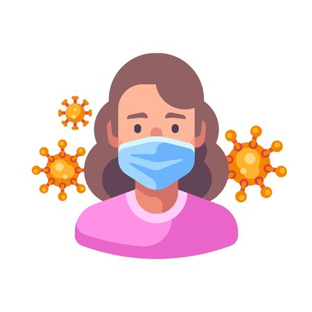 Woman in medical surgical mask. Virus protection flat illustration. Red coronavirus floating in the air