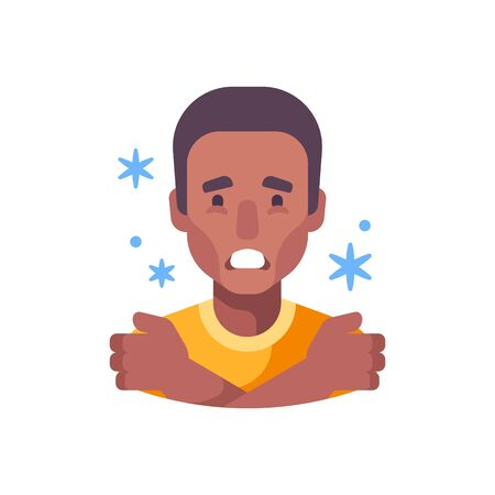 Chills flat illustration. African American man feeling cold and shivering
