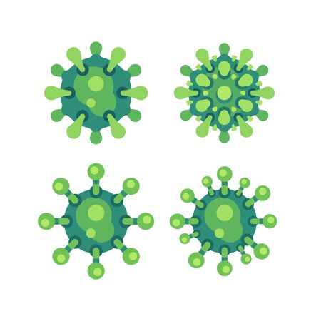 Set of green virus flat icons. SARS-CoV-2 novel coronavirus vector illustration. 向量圖像