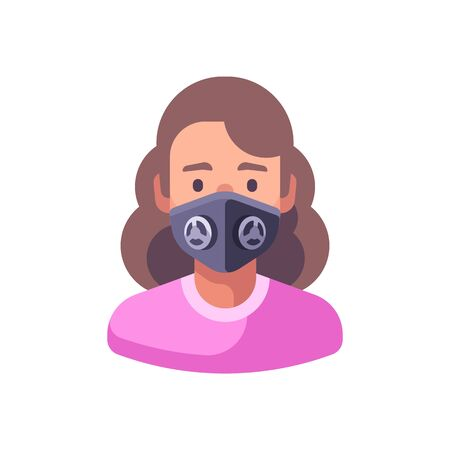 Woman in black N99 face mask. Virus protection flat illustration Vettoriali