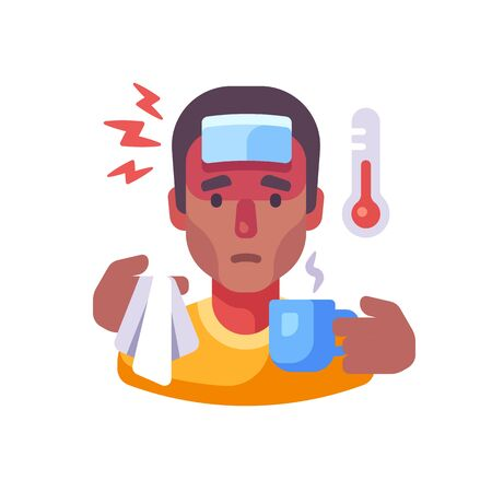 Sick African American man drinking tea flat illustration. Guy having flu symptoms. Infectious disease concept Vettoriali