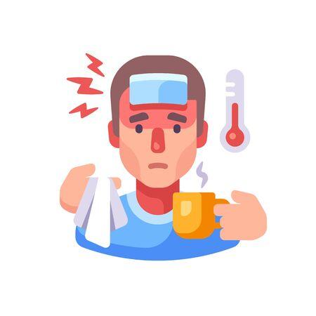 Sick man drinking tea flat illustration. Guy having flu symptoms. Infectious disease concept.