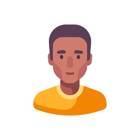 Male face flat icon. African American man avatar illustration
