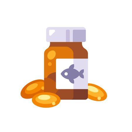 Fish oil pills in a glass bottle. Omega 3 vitamin capsules flat illustration.