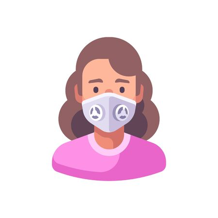 Woman in white N99 face mask. Virus protection flat illustration