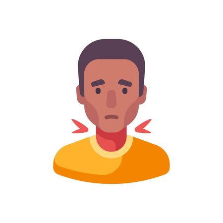 Sore throat flat illustration. African American man having a cold
