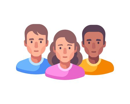 Team work flat illustration. Social media community flat icon. Diversity concept. 矢量图像