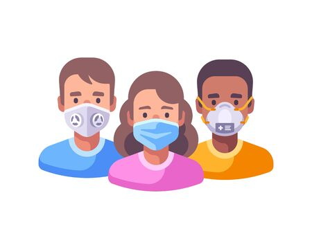 Three characters in face masks flat illustration. Coronavirus protection concept. Different people fighting epidemic together.