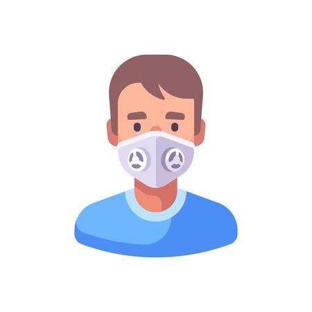 Man in white N99 face mask. Virus protection flat illustration.
