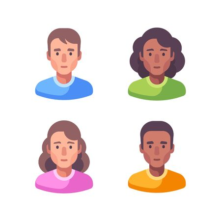 Set of male and female faces. Avatar flat illustration.