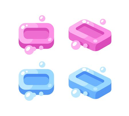 Pink and blue soap bars with bubbles illustration. Hygiene flat icons.