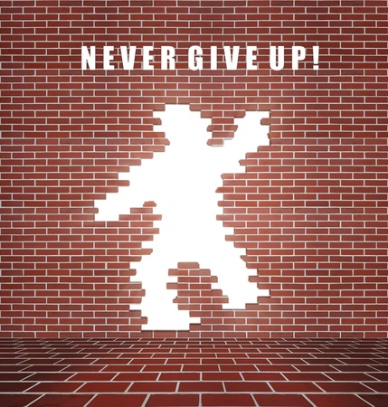 never: Broken brick wall, concept of freedom and will