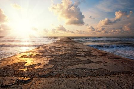 shore line: Beautiful sunset on the sea