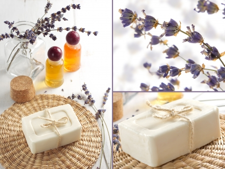 Scented soap and lavender oil in the bathroom in the Provence style.  Spa collage photo