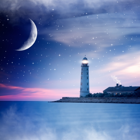 Lighthouse at night Stock Photo