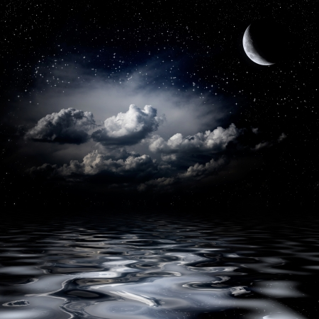 night sky and stars: Night sky stars reflecting in sea