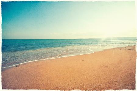 coucher de soleil: Vintage fond de plage