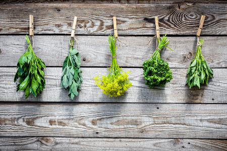 Herbs hanging over wooden background photo