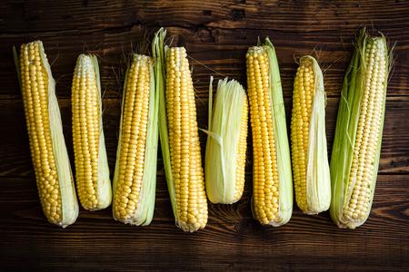 Fresh corn cobs photo