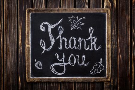 Thank you on chalkboard